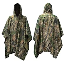 Multifunction Military Camouflage Rain Coat,Waterproof Ripstop Rain Poncho, PVC and Nylon,1 Pack
