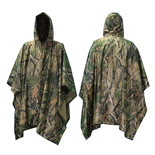 Multifunction Military Camouflage Rain Coat,Waterproof Ripstop Rain Poncho, PVC and Nylon,1 Pack (Maple Leaf ()