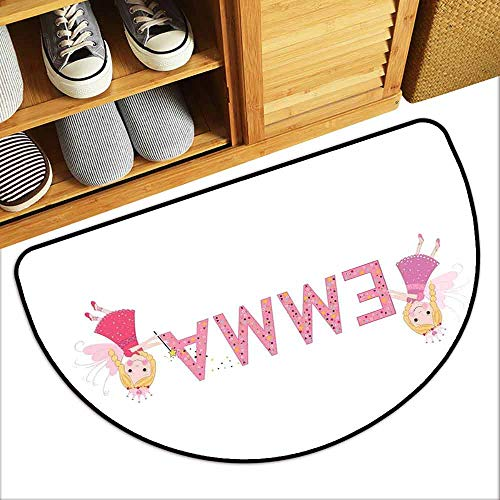 DILITECK Printed Door mat Emma Cute Fairy Princesses Holding a Popular Widespread Girl Name with Polka Dots Pattern Breathability W30 xL18 Multicolor