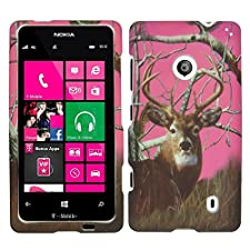 Pink Camo Branches Deer 2D Rubberized Design for Nokia Lumia 521 Cell Phone Snap-On Hard Protective Case Cover Skin Faceplates Protector