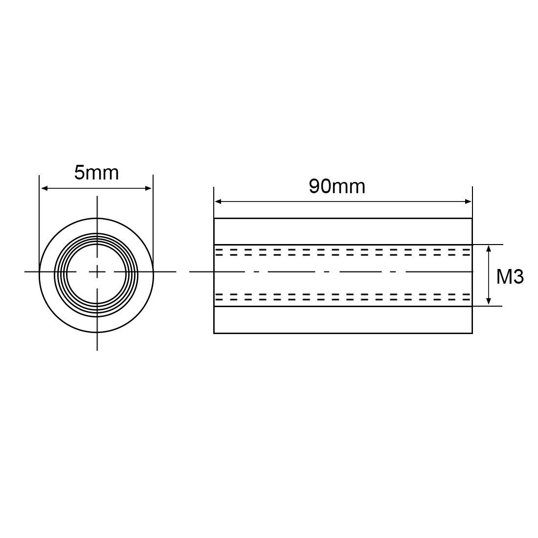 uxcell Round Aluminum Standoff Column Spacer M3x55mm,for RC Airplane,FPV Quadcopter,CNC,Black,10pcs