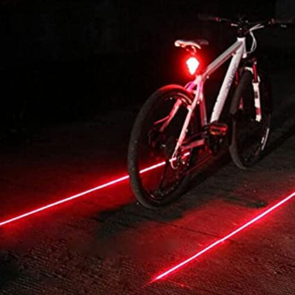 2 red Laser Lamp Bike Bicycle led Rear Tail Safety Warning Flashing Light 5 LED