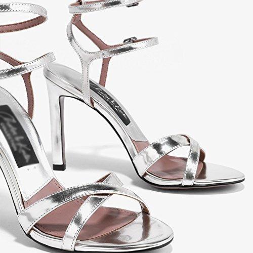 Verano Primavera Zapatos pie de Zapatos Femenino CN35 Verano Tamaño EU36 LHA UK3 2 Dedo Abierto 5 Color Fine 1 del Sandalias qEty5WFyc
