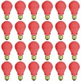 24 Pack of Sunlite 60 watt Ceramic Red Colored Incandescent Light Bulb - Parties, Decorative, and Holiday 1,250 Average Life Hours