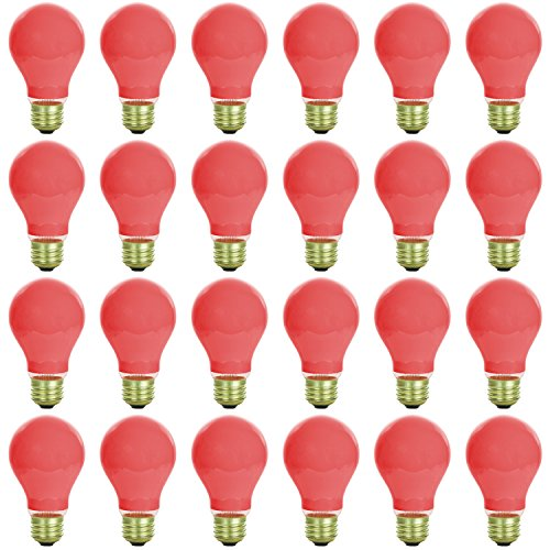 24 Pack of Sunlite 60 watt Ceramic Red Colored Incandescent Light Bulb - Parties, Decorative, and Holiday 1,250 Average Life Hours by Sunlite