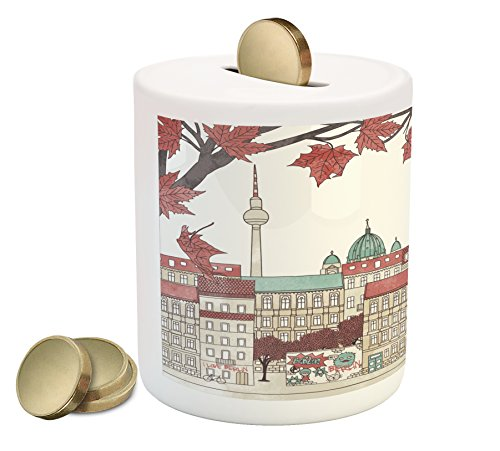 Ambesonne German Coin Box Bank, Autumn in Berlin Colorful Hand Drawn Illustration of The Capital City of Germany, Printed Ceramic Coin Bank Money Box for Cash Saving, Multicolor