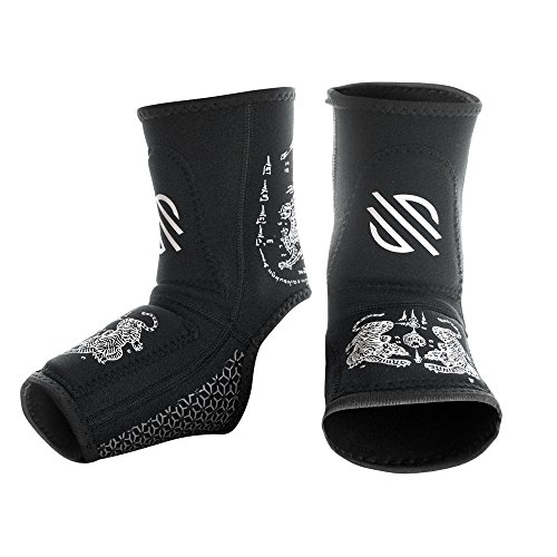 Sanabul BattleForged Gel Ankle Guard (Black/White, - Wraps Thai Muay