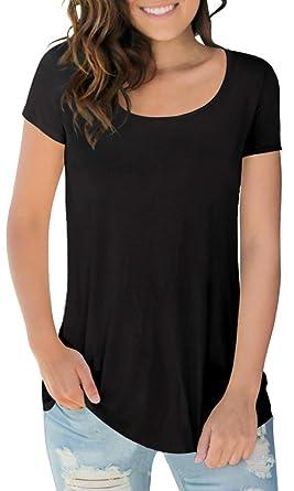 d6d912aca72 Sousuoty Women s Cotton Short Sleeve Scoop Neck Tshirts Summer Tops Black S