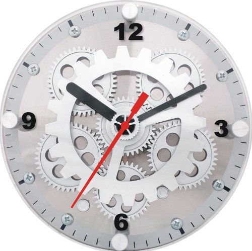 Maples 6-Inch Dual Use Table/Wall Moving Gear Clock Glass Cover