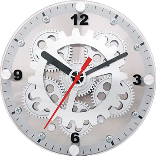 Mapleu0027s 6 Inch Dual Use Table/Wall Moving Gear Clock Glass Cover