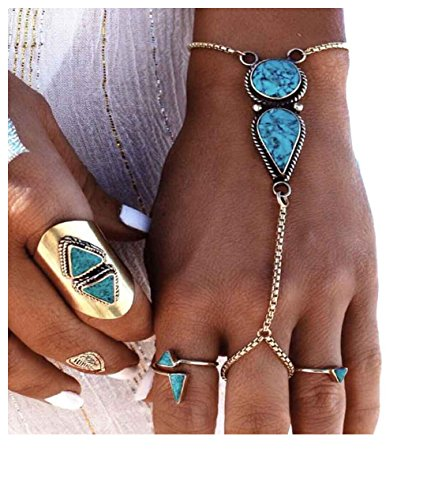 Challyhope Clearance, Womens Fashion Jewelry Vintage Bohemian Ethnic Turkish Silver Turquoise Coin Bracelet Anklet