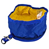 Budd Pet Dog Bowl Folding Doggie Bowl Expandable Travel Food Water Bowl (Navy Blue,S)