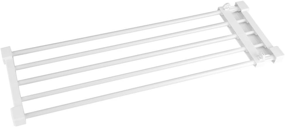Separador estante extensible para armario divisor de garaje, baño, cocina, estantería de almacenamiento ajustable de 73,2 a 128 cm, sin perforación, blanco: Amazon.es: Hogar