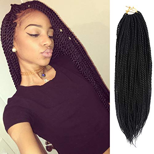 Difunee 8packs/lot 20 inch Senegalese Twist Crochet hair Braids High Temperature fiber synthetic Braiding hair extensions for black women (#1)