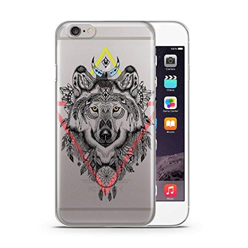 Aztek Wolf Bunt Design Apple iPhone 6 & 6S SLIM HARDCASE Durchsichtig Hülle Cover Case Schutz Schale Design Tribal Aztec
