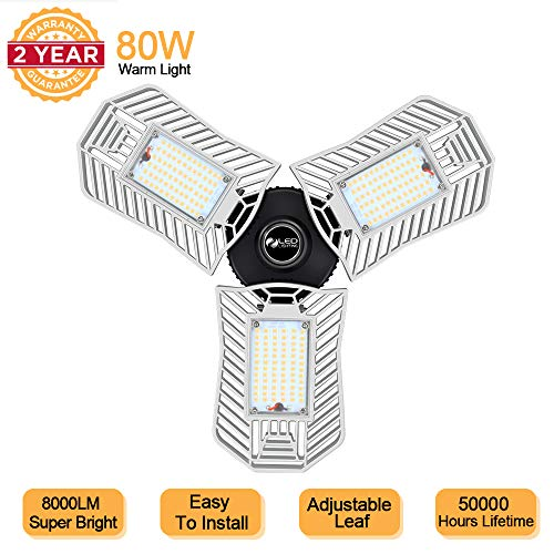 80W Garage Light, Super Bright Deformable Led Garage Lights Warm White 3000K, 8000 lumens,E26 Garage Light Bulb, Shop Lights for Garage Workbench Workshop,Led Garage Ceiling Lights(80W Warm Light)