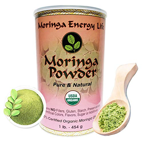 Moringa Leaf Powder 1lb. USDA Organic, Feel Energy & Health by ingesting Our 100% Pure and Natural Raw/Organic Super Food. 112 Servings.