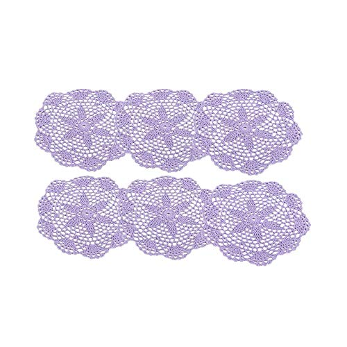 6Pcs Hand-knitted coaster,Hand Crocheted Doilies, 8