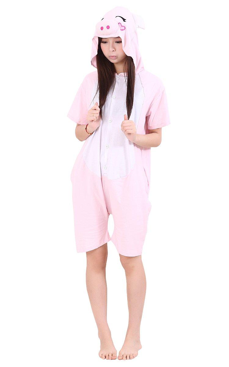 Tonwhar Summer Cartoon Animal One Piece Pajamas Cosplay Costume Adult Sleepwear (XL(181-190cm), Pink pig)