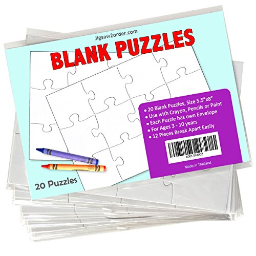 Jigsaw2order 12 piece Blank Puzzle Craft Activity, Pack of 20 Puzzles, size 5.5
