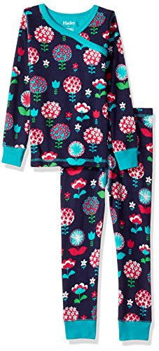 Hatley Big Girls' Organic Cotton Long Sleeve Printed Pajama Sets, Harvest Floral, 8 Years