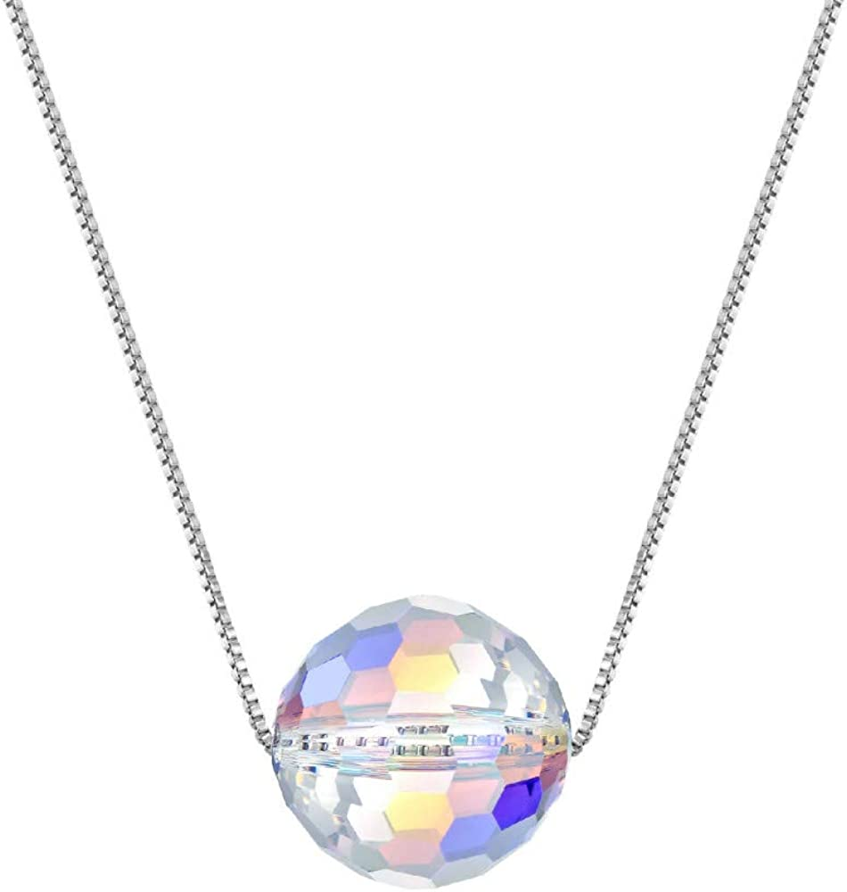 S925 Silver Necklace Crystal Necklace Crystal Ball Pendant Pure Silver Collar chain