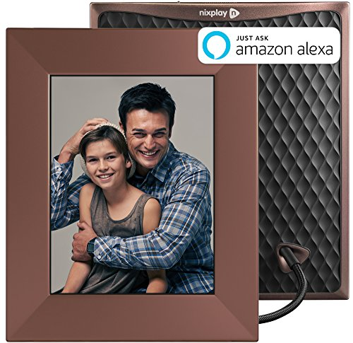 Nixplay W08E- Burnished Bronze Iris 8″ Wi-Fi Cloud Digital Photo Frame with IPS Display, iPhone & Android App, iOS Video Playback, Free 10GB Online Storage, Alexa Integration, Burnished Bronze
