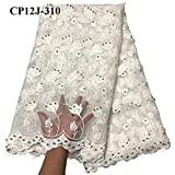 Laliva Best Selling Swiss Voile White Laces African Lace Fabric Nigerian French Tulle Fabric African Bead Lace Fabric - (Color: As Picture)