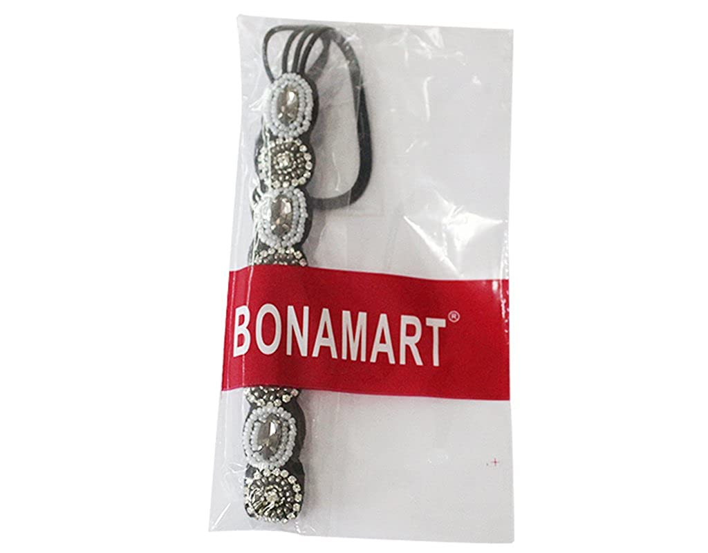 BONAMART Reg; Nero Retro Strass Elastico Capelli Head Band Hoop Accessory Tie Hairbands Headbands Turban Lady Donne Ragazze