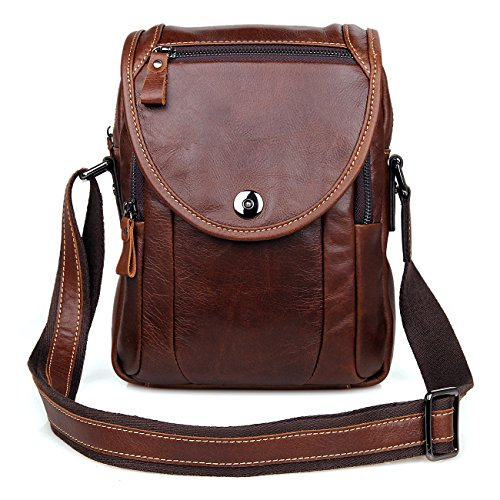 Clean Vintage Mens' Leather Cross Body Shoulder Sling Messenger Bag (Clean Cowhide Leather)