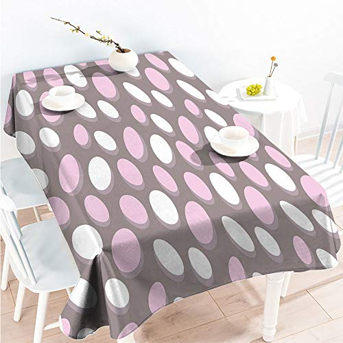 ScottDecor Indoor Outdoor Tablecloth Spillproof Table Retro Oval Pattern Circles Abstract Pale Vintage Elliptical Design W 60