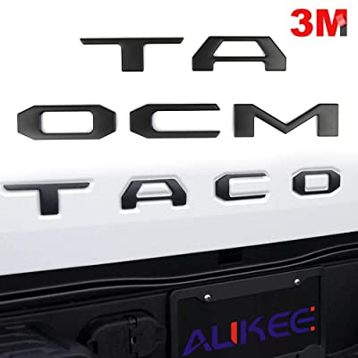 Aukee Tailgate Letters for Toyota Tacoma 2016 2020 2020 Emblem Inserts 3D Raised Metal (Matte Black): Automotive