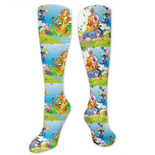 ZTKJ Winnie The Pooh Eeyore Piglet Tigger and Kanga Cool. Athletic Socks 30-40 mmHg Long Socks for Unisex