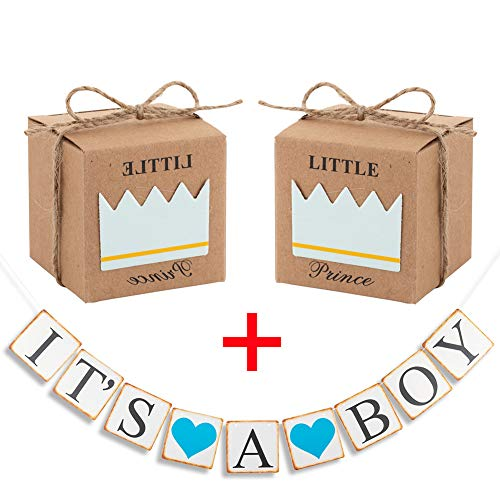 50 Pack Little Prince Crown Rustic Kraft Candy Boxes, DIY Party Favor for Baby boy Shower Birthday,It is a boy Photo Props Banners Decorations ()