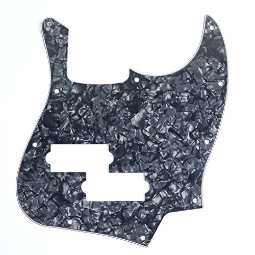 Jazz Bass Black Top Style Guitar Pickguard w/ PB Pickup hole ,4ply Black Pearloid (Jazz Bass Pickguard With P Bass Pickup)
