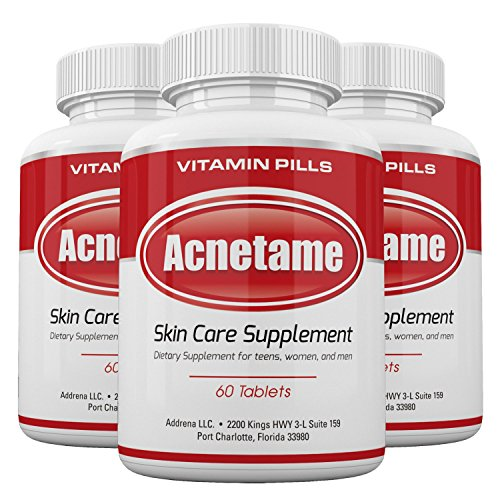 Acnetame 3 Pack- Vitamin Supplements for Acne Treatment- Hormonal Pimple Tablets to Clear Oily Skin for Women, Men, Teens, and Adults