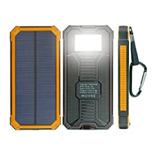 Solar Charger, X-DRAGON Portable 15000mAh Dual USB Solar Battery Charger Power Bank with Carabiner and light lamp iPhone, iPad, iPod, Cell Phone, Tablet, Camera (Orange)