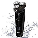 Men's Electric Razor Waterproof Wet and Dry, Electric Shaver for Men Cordless Mens 3D Rotary Shavers Chargeable Shaving Razors with Pop-up Trimmer, Digital Indicator