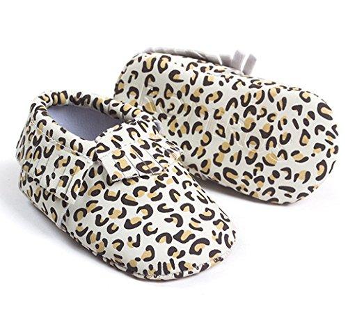 HAPPY CHERRY Suaves Zapatos Calzado de Primeros Pasos Zapatitos sin Cordones Mocasines con Borlas para Bebés Niños Niñas 12 - 18 Meses 13CM Talla EU 21 Color Rojo Brillante Leopardo