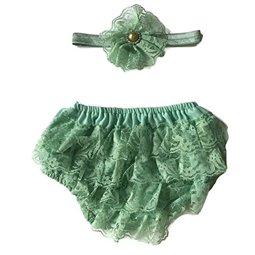 Rush Dance Lace Ribbon Baby Ruffle Bloomers Diaper Covers & Headband (Large (12-24M), Spring Moss)