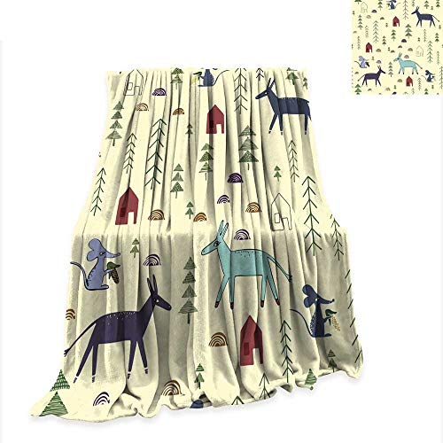 Throw Blanket Seamless Pattern with Donkey Mouse House Spruce 60