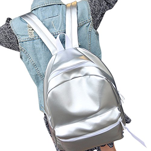à pour dos sac sac voyage femme à filles à en bourses sac étudiants pour sac imperméable cuir brillant argent en dos de cuir dos PU étudiants Sac wxPXpfX