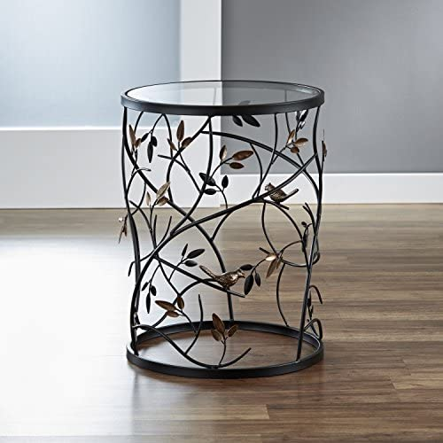 FirsTime Co. Antique Large Bird and Branches Side Glass Tabletop Accent Table, 22 H x 16.5 W x 16.5 D, Aged Bronze