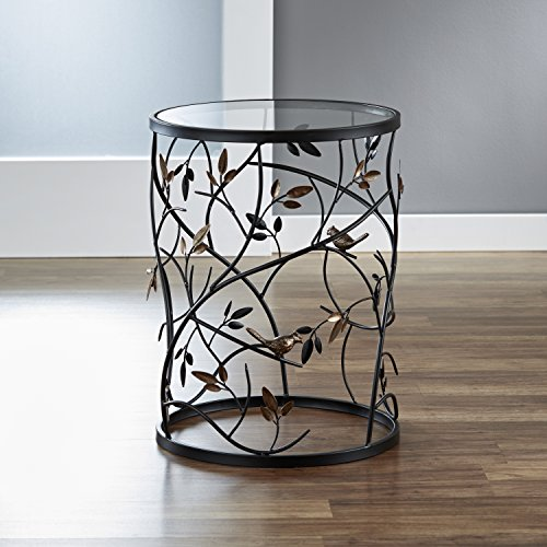 "FirsTime & Co. Antique Large Bird and Branches Side Glass Tabletop Accent Table, 22""H x 16.5""W x 16.5""D, Aged Bronze"