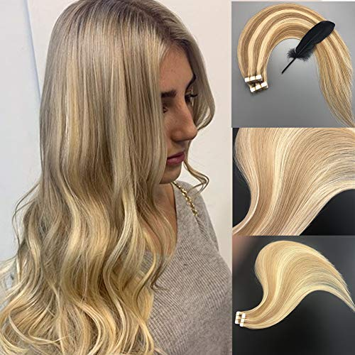 Vowinlle 22inch 20pcs 50g Human Hair Extensions Tape in Ombre Honey Blonde Highlighted with Bleach Blonde Natural Hair Extensions Tape in Real Hair Balayage Straight Tape (Remi Human Hair Extensions)