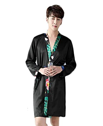 BOLAWOO Pajamas The Nightgown Men s Bathrobe Section Men s Long Silk  Bathrobe Home Clothes Fashion Brands Lightweight 50e334fcf