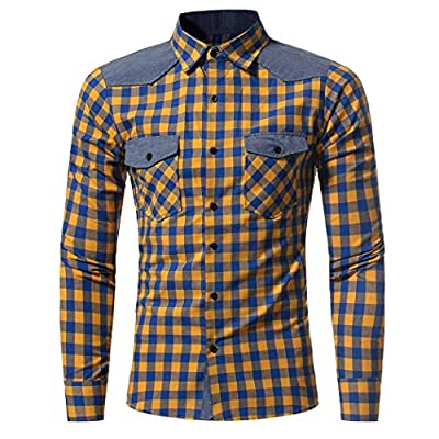 Forthery 2017 Clearance Men's Checkered Button-Down Shirt Slim Fit Casual Shirts
