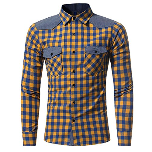Forthery Men's Checkered Button-Down Shirt Slim Fit Casual Shirts (Tag XL= US L, Yellow) Stretch Sueded Cotton Pants