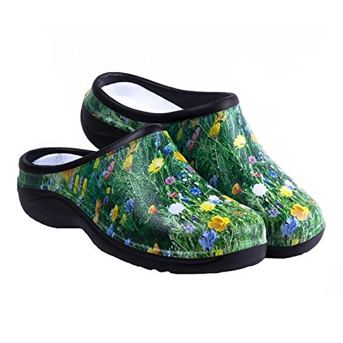 Waterproof Premium Garden Clogs With Arch Support-Meadow Design By Backdoorshoes, Meadow Design, Size 8 - Waterproof Womens Clogs