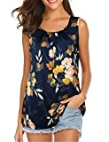 Lotusmile Summer Tops for Women, Ladies Summer Sleeveless Elegant Business Work Wear Floral Print Solid Chiffon Blouse Round Neck A Line Tunic Tank Tops,Multicolor Bule M